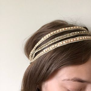 ANTHROPOLOGIE Jewel Elastic Headband, Cream Pearl